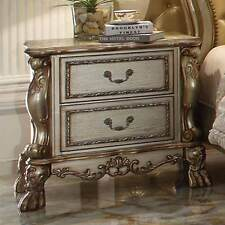 Dresden Antique Bedroom Night Stand Storage Drawers Wood Gold Patina Claw Foot
