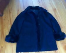 Hilary Radley Sz Large L Black  Wool Jacket Coat Women's  Canada Real Fur Collar