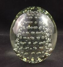 Vintage Whitefriars Art Glass Clear Controlled Bubbles Paperweight