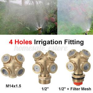 4 Hole Brass Spray Misting Nozzle Garden Yard Sprinkler Irrigation Fitting Gold