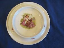 ANTIQUE ROYAL BABY PLATE PICNICING CHILD AND PUPPIES 1905 CHILD