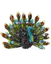 Burgundy Sparkling Crystals Beauty Peacock Pin Brooch