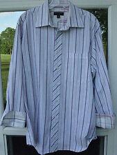 Ted Baker London Men Long Sleeve Flip Cuffs Striped Dress Shirt 16 x 32/33 Large