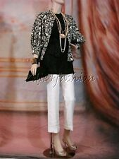 $798 New RALPH LAUREN Puff Sleeve Black White Art Print Polyester Jacket 8