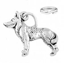 STERLING SILVER HUSKY DOG CHARM WITH ONE SPLIT RING