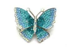 New Austrian Crystal Butterfly Women Ring Stretch  Statement New