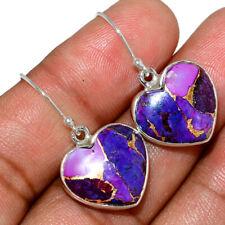 Heart - Copper Purple Turquoise 925 Sterling Silver Earring Jewelry AE145324