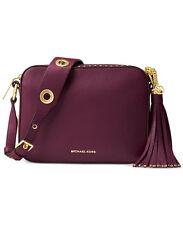NWT MICHAEL Michael Kors BROOKLYN LARGE Camera Crossbody Bag Leather PLUM $398