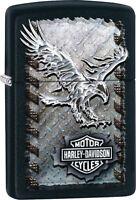 Zippo 28485, Harley Davidson-Eagle, Black Matte Lighter, ***6 Flints/Wick***