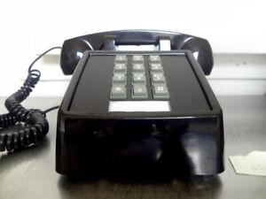 Cortelco Vintage Retro Push Button Telephone Black Landline w Bell Ringer
