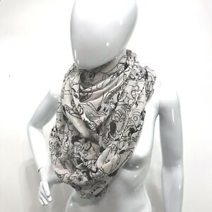 """Lion King Colorbook Print Infinity Scarf Black White 32"""" x 37"""" *READ* Lghtweight"""