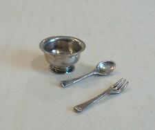 CUTE ANTIQUE ENGLISH STERLING SILVER MINIATURE BOWL, FORK & SPOON SET