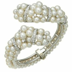 Simulated Pearl Hinged Cross-over Open Cuff Bracelet 925 Sterling Silver Women's