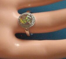 NEW MEXICO OPAL SOLID 925 SILVER CZ ADJ RING 7-9.5, WHAT A RING!