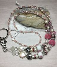 Handmade Pearl Glass Crystal Badge/Lanyard Holder W/Swarovski Elements US