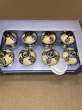 CASA DECOR CERAMIC Drawer Knobs / Pulls Set of 8  NEW IN BOX!