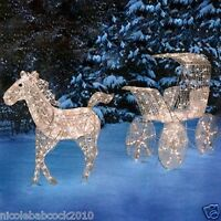 CHRISTMAS LIGHTED HORSE & CARRIAGE SLEIGH ICE CRYSTAL HOLIDAY YARD DECOR