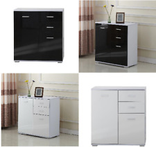 High Gloss Side Storage Cabinet Wooden Bedroom Clothes Cupboard Furniture Drawer