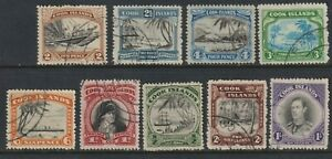 Sc# 116 / 124 Cook Island 1944-46 complete used set to 3/ CV $125.75