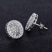 Luxury Round Stud Earrings for Women 925 Silver White Sapphire Earrings A Pair