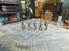 "Vintage Civil War General & Soldier PEWTER TONE 1 7/16"" Lot Of 5 Miniatures VG !"