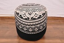 "22"" Indian Mandala Ottoman Round Footstool Pouffe Large Hippie Floor Pouf Cover"