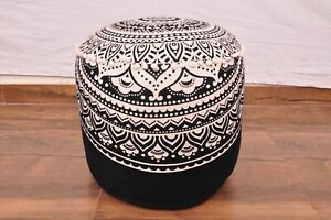 """22"""" Indian Mandala Ottoman Round Footstool Pouffe Large Hippie Floor Pouf Cover"""