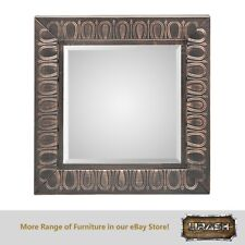 Embossed Wall Mirror with Copper Black Colour Square Metal Framed