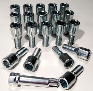 Car wheel Tuner Slim bolts + star key M12 x 1.5 - M12x1.5, taper Renault x 20