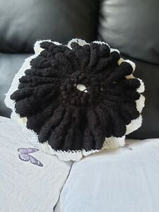 hand crochet pillow, 100% polyester, black and white circle pillow