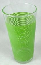 """clear drinking glass with green stripes tumbler 6.25"""" height 3"""" diameter"""