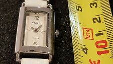 Appear Quartz Rectangle watch white Dial Girls Woman white faux leather band