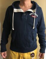 NWT Hollister Abercrombie Fitch Mens Graphic Hoodie Jacket Sweatshirt Navy L