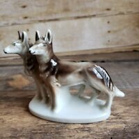 Vintage Ceramic Tamaskan Dog Figurine  Northern Inuit Wolf Dogs Figure Japan