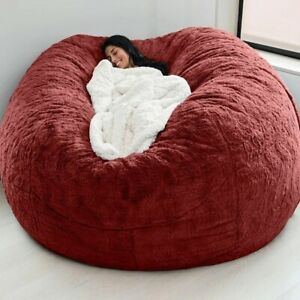 7ft Giant Fur Bean Bag Cover Living Room Furniture Big Round Soft Fluffy Faux