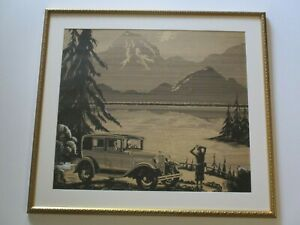 ANTIQUE  PAINTING DRAWING ART DECO POINTILLIST  LANDSCAPE  ILLUSTRATION OLD CAR