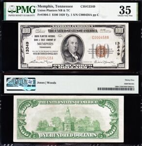 AWESOME Crisp Choice VF++ 1929 $100 MEMPHIS, TN National Note! PMG 35! C000458A