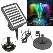 Solar Fountain Bird Bath Water Pump Floating Lotus Garden Pond Decor w/Led Light