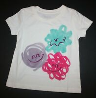 New Gymboree Girls Happy Monster Puff Balls Graphic Tee Top 18-24m Ivory Short