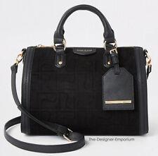 River Island Designer Black Soft Suede RI Monogram Medium Bowler Bag