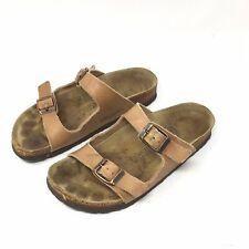 Birkenstock Womens 35 L4 Two Strap Tan Leather Sandals NARROW - Fair Condition