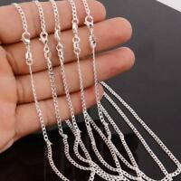 Hot Wholesale 1/5pcs Silver Plated 2MM Rolo Curb Link Chain Necklace Unisex New