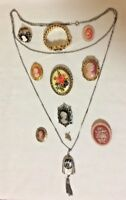 CAMEO VTG JEWELRY LOT Brooch Pin Necklace Ring UNTESTED Gold Silver Filigree E