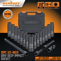 19 Pieces 1/2-Inch Drive Deep Impact Socket Set Axle Hub Nut 6-Point Metric CR-V