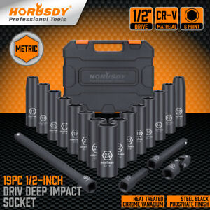 19 Pieces 1/2-Inch Drive Deep Impact Socket Set Axle Hub Nut 6-Point Metric CR-V