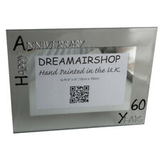 60th Year Gift Wedding Anniversary Picture Photo Frame (L) (Black/Silver)