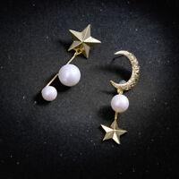 Earrings Nails Golden Star Moon Croisant Pearl White Fashion Retro AA31