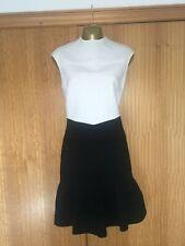 TED BAKER White Black ColourBlock Dress SIZE 12 Stretch Bandage BodyCon Ladies