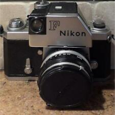 NIKON F CAMERA w/ AUTO NIKKOR-S 50mm LENS - LEATHER CASE Grip LIGHT METER More!