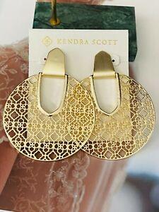 Kendra Scott Sophee Drop Golden Cutout Earrings & Free Shipping